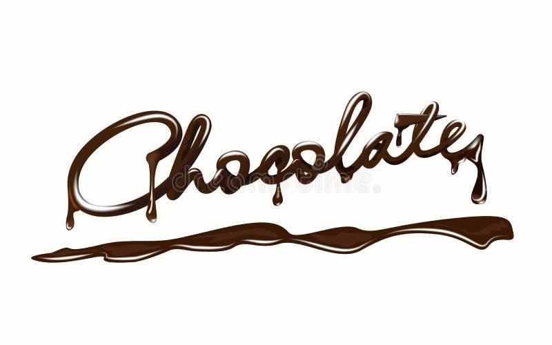 巧克力 现实巧克力块字法,与下落和飞溅 背景查出的白色 库存例证