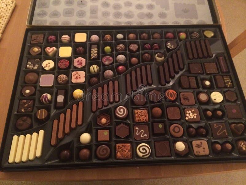 巧克力chocoholic甜箱子 库存照片