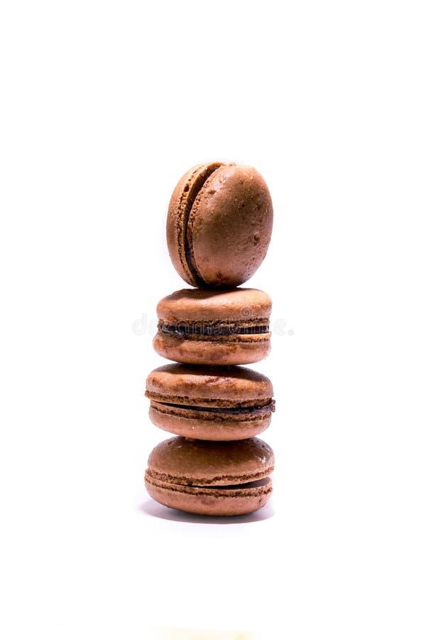巧克力macrons饼干 免版税库存照片