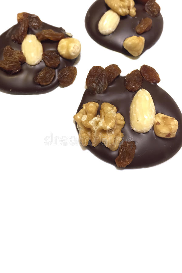 巧克力Mendiants 免版税图库摄影