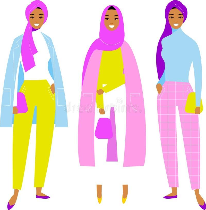 巧妙的便服的不同的年轻美丽的伊斯兰教的沙特阿拉伯女孩在平的样式的白色背景 免版税库存图片