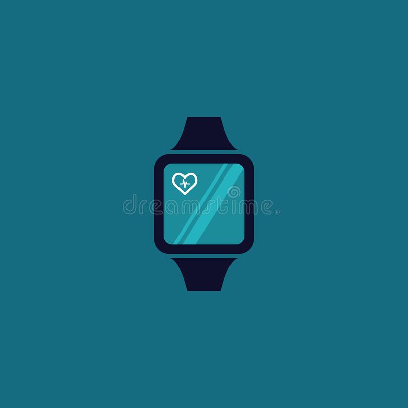 巧妙的手表便携的技术心脏心脏病学 向量 皇族释放例证