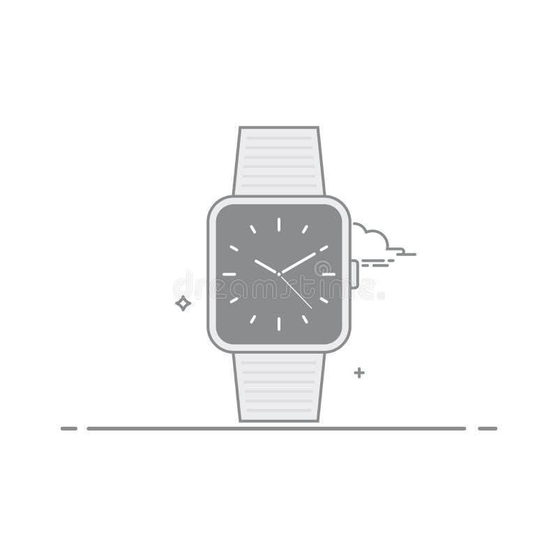 巧妙的手表 模式时钟用中间人和黑暗的背景 流动应用接口的概念 皇族释放例证