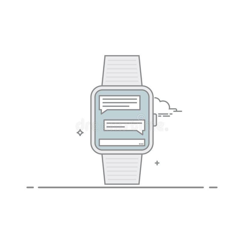 巧妙的手表 流动应用接口的概念 网上书信 流动信使 在白色 库存例证
