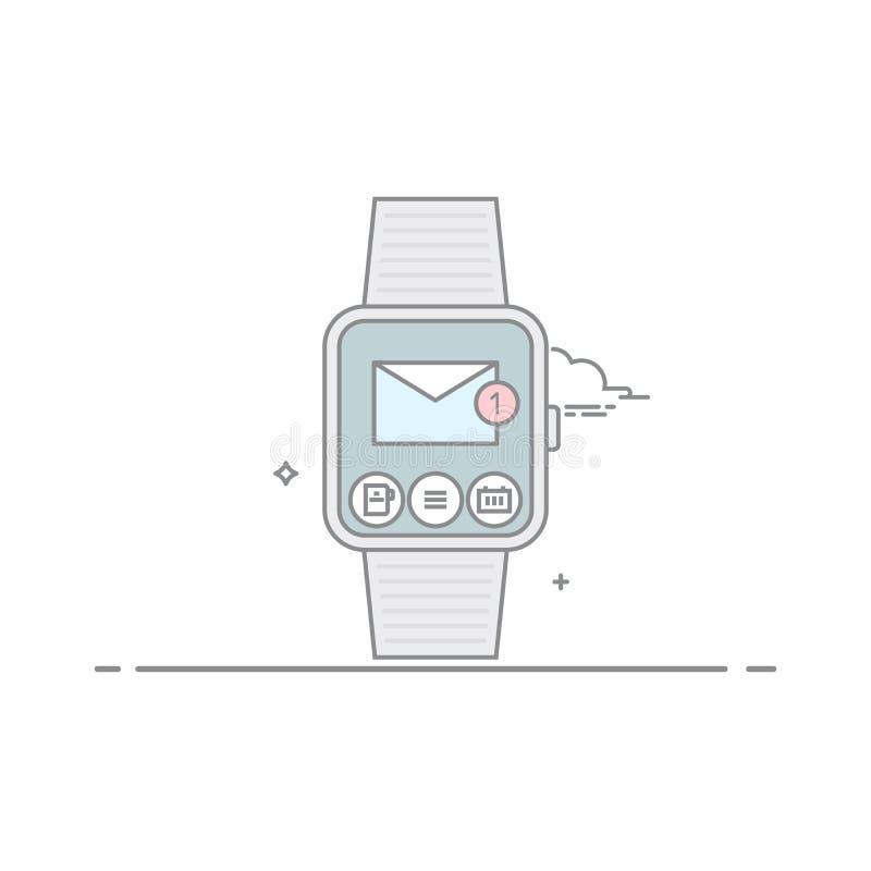 巧妙的手表 流动应用接口的概念 邮件客户 新的未经阅读的电子邮件 在空白背景 皇族释放例证