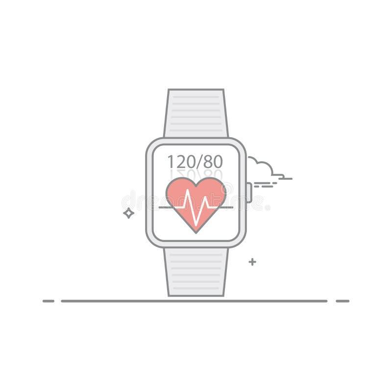 巧妙的手表 跟随健康征兆 脉冲和心脏压力 流动应用接口的概念 库存例证