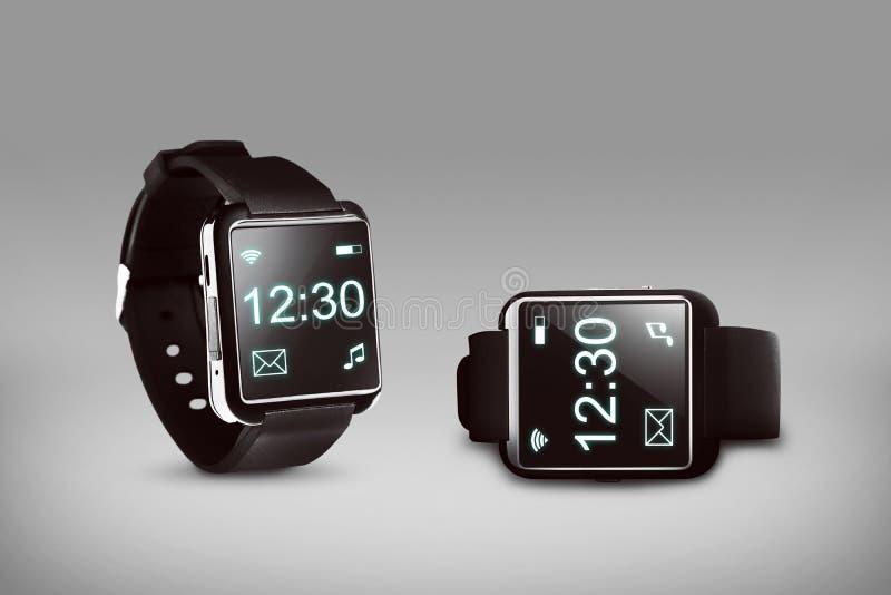黑巧妙的手表 免版税库存图片