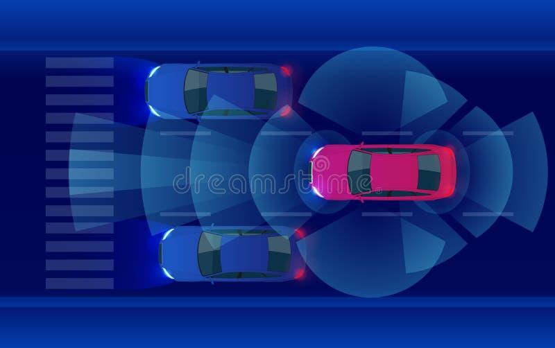 巧妙的汽车HUD,在地铁城市道路iot概念的自治自驾驶的方式车与图表传感器雷达信号 向量例证