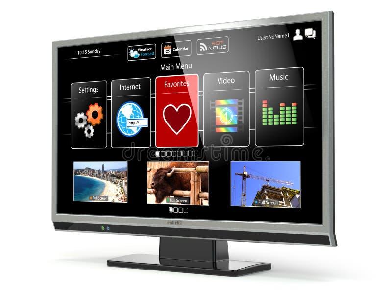 巧妙的电视与网接口的平面屏幕lcd或等离子 数字式增殖比 皇族释放例证