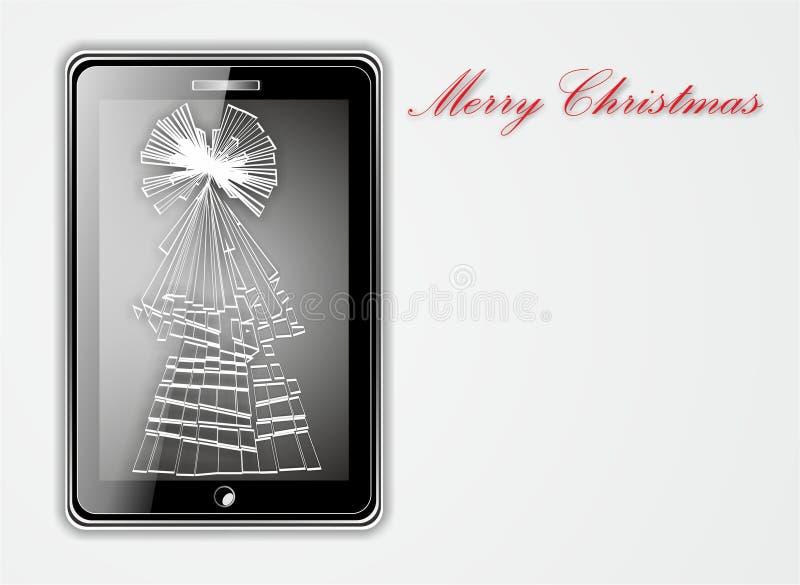 巧妙的电话的例证有损坏的屏幕的在圣诞树形状  库存图片