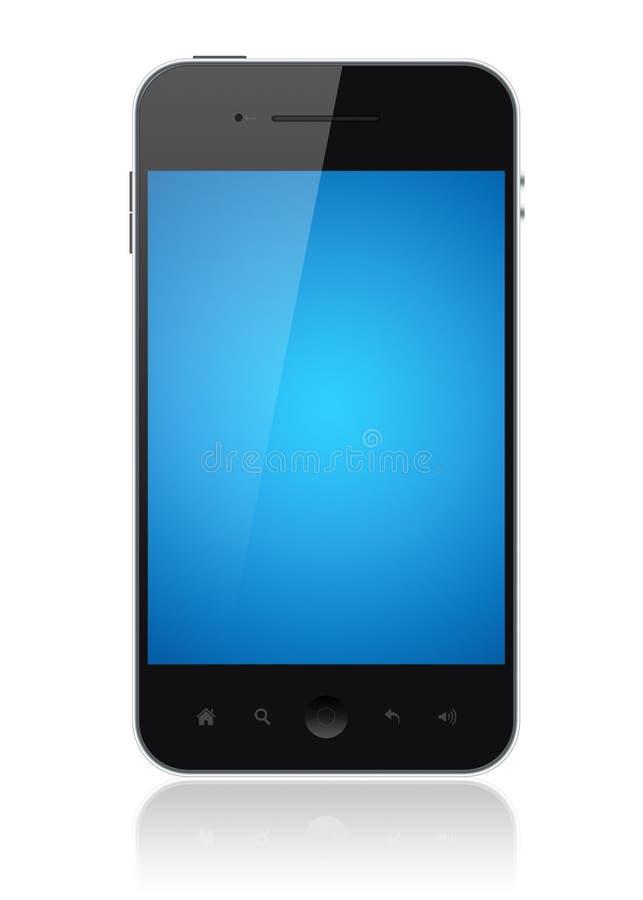 巧妙蓝色查出的电话的屏幕 库存例证