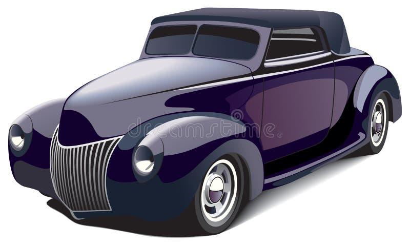 巧妙黑色的旧车改装的高速马力汽车 向量例证