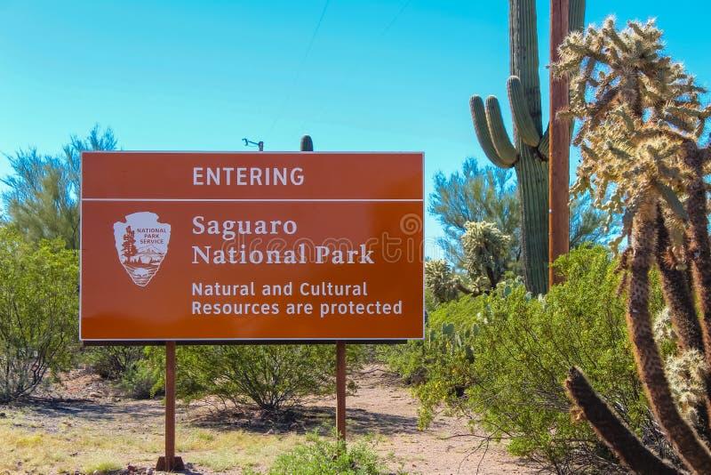 巨人柱国家公园标志-图森亚利桑那 免版税库存照片