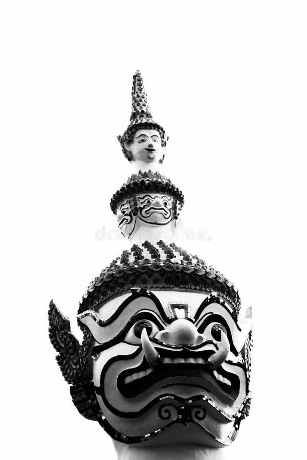 巨人的美丽的特写镜头面孔在Wat arun的在Bkk,泰国 免版税库存图片