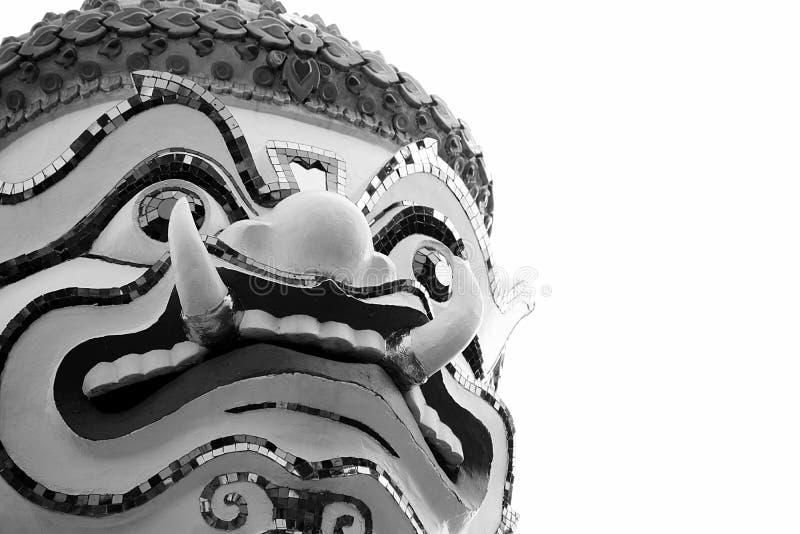 巨人的美丽的特写镜头面孔在Wat arun的在Bkk,泰国 免版税库存照片