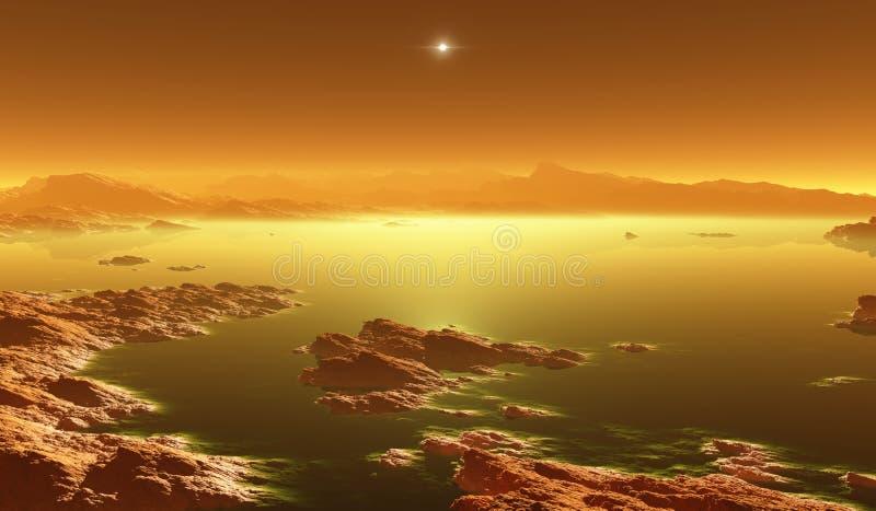 巨人,土星最大的月亮与大气的 巨人表面风景  蒸发碳氢化合物湖 皇族释放例证
