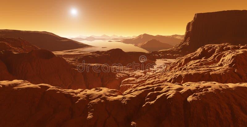 巨人,土星最大的月亮与碳氢化合物湖的 向量例证