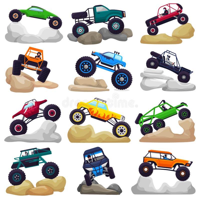 巨型卡车传染媒介爬行在岩石例证套的动画片车或汽车和极端运输重岩石 库存例证