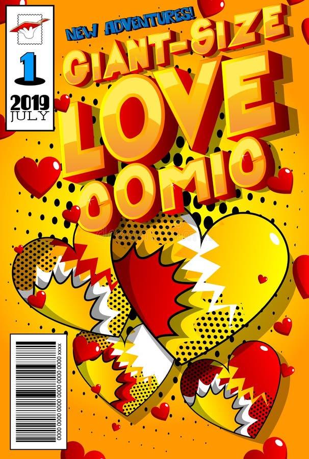 巨型大小爱漫画书套 向量例证