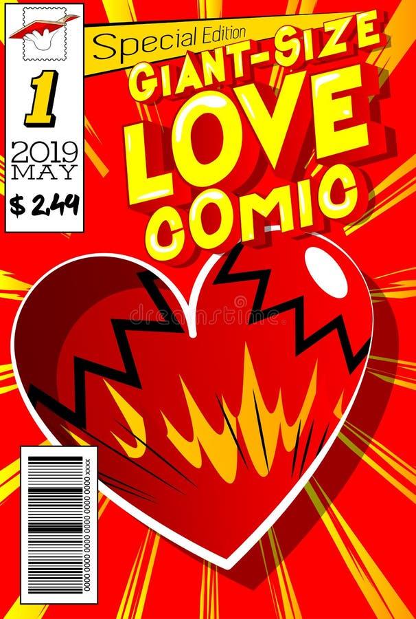 巨型大小爱漫画书套 库存例证