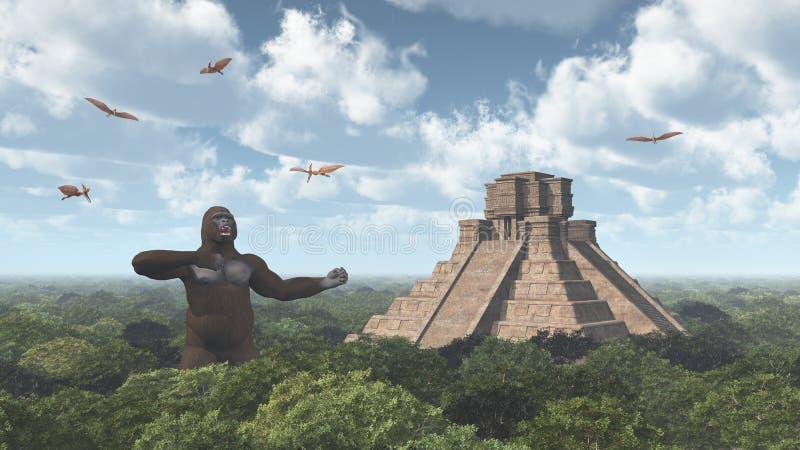 巨型大猩猩、翼手龙属和玛雅寺庙 向量例证