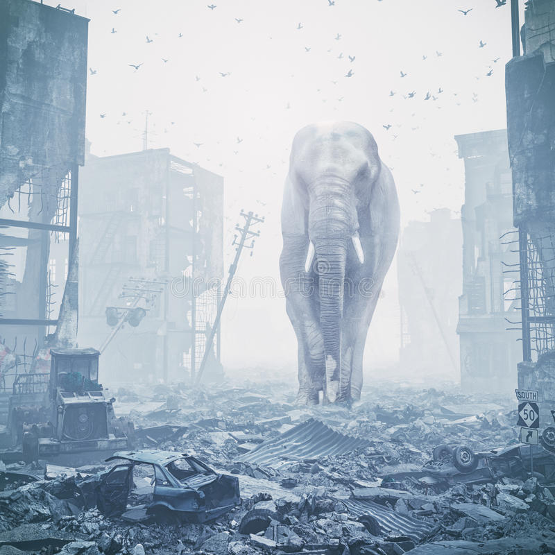 巨型大象在被毁坏的城市 皇族释放例证