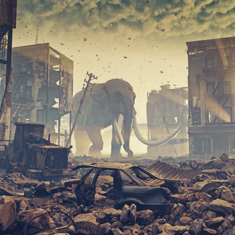 巨型大象在被毁坏的城市 库存例证