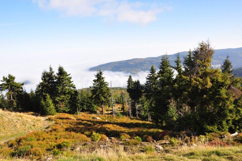 巨型山、云彩和山景 免版税库存照片
