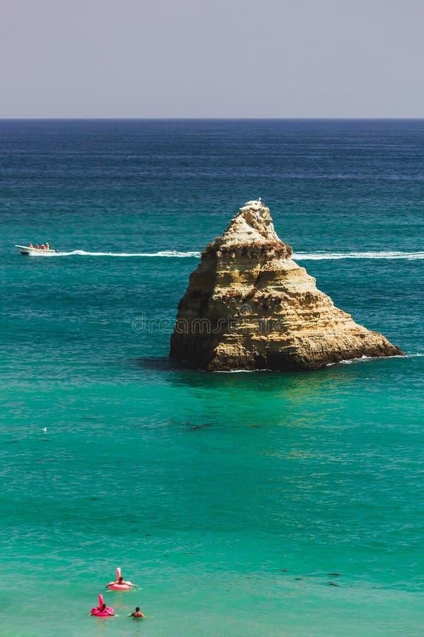 巨型桃红色火鸟可膨胀在D 阿那海滩,拉各斯,葡萄牙 免版税库存照片