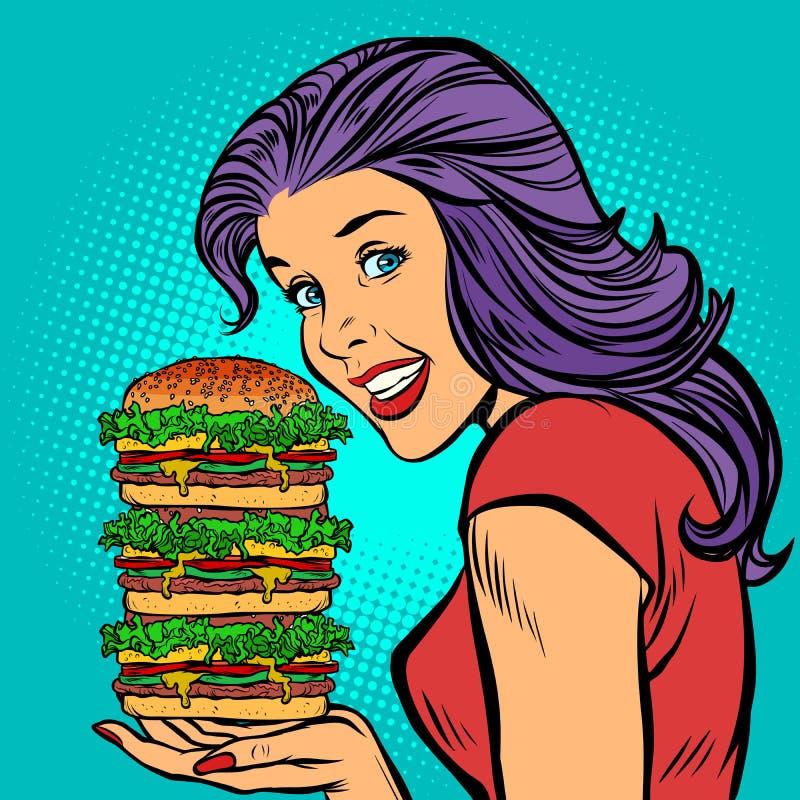 巨型汉堡 吃快餐的饥饿的妇女 向量例证