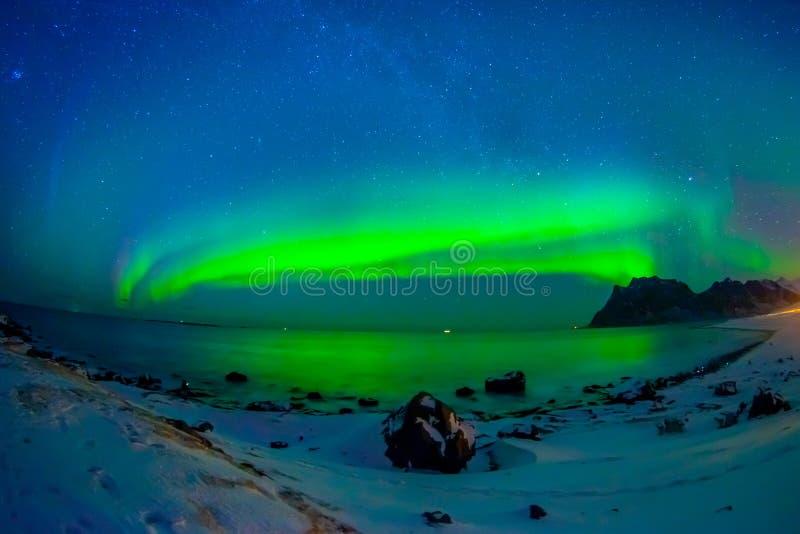 巨型的多彩多姿的充满活力的极光Borealis,极光北极星的美好的图片,也知道作为在的北极光 免版税库存图片