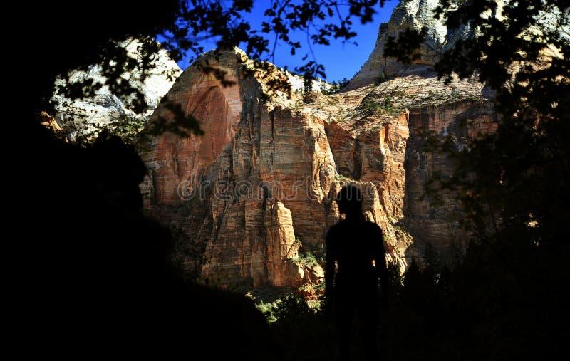 巨型的山在锡安国家公园 免版税库存照片