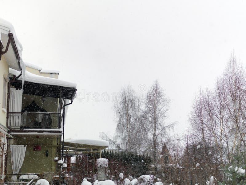 巨型的降雪在镇里 免版税图库摄影