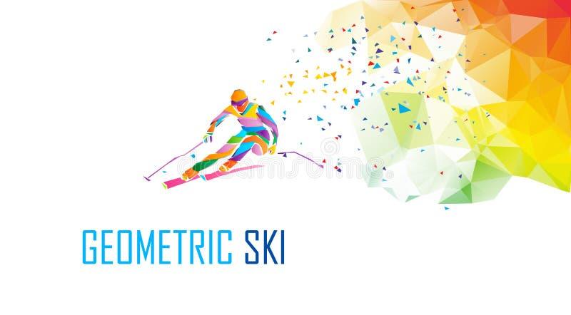 巨型障碍滑雪滑雪竟赛者剪影 颜色女孩例证可爱的兔子微笑诉讼白色 皇族释放例证