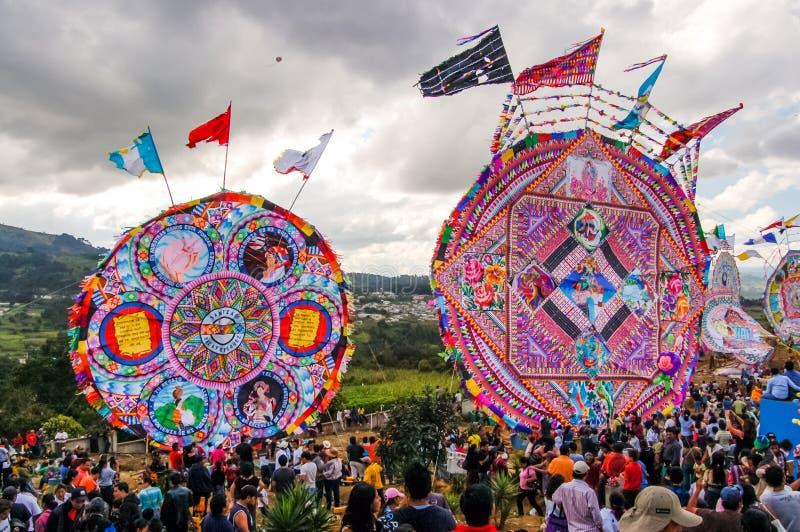 巨型风筝在公墓,万圣节,危地马拉 免版税库存照片