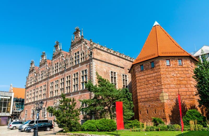 巨大军械库和秸杆塔在格但斯克,波兰 免版税库存图片