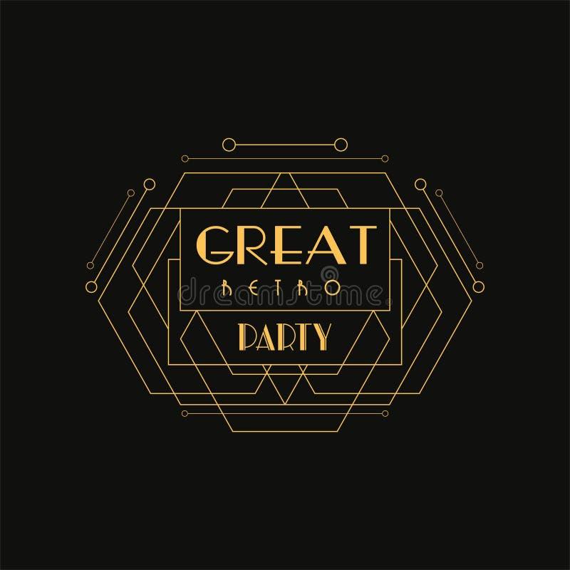 巨大减速火箭的党商标,豪华葡萄酒几何组合图案传染媒介例证,艺术装饰在金黄的设计元素和 库存例证