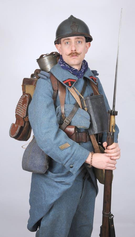 巨大制服的战争法国工程师 免版税库存图片