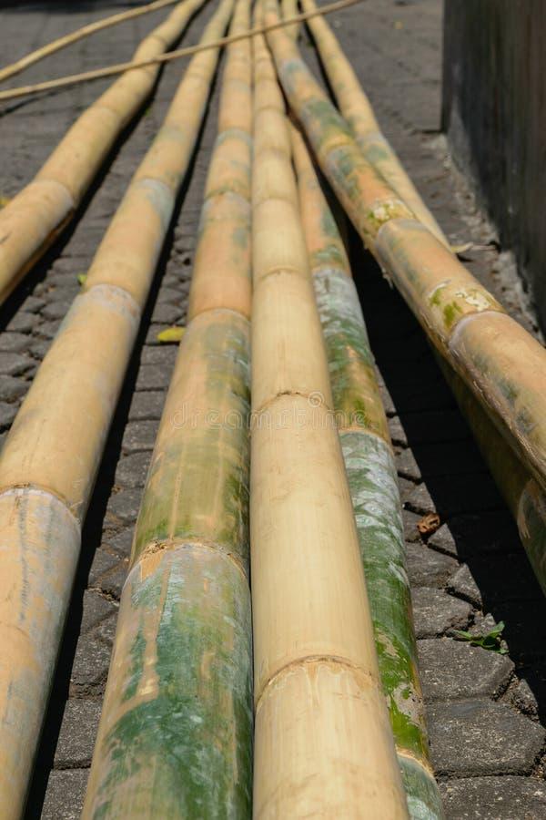 巨大和为在地面安置的建筑黄色竹树干做准备 免版税图库摄影