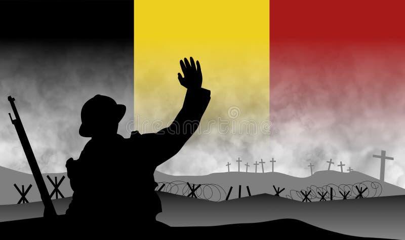 巨大战争的百年的记念,比利时 向量例证