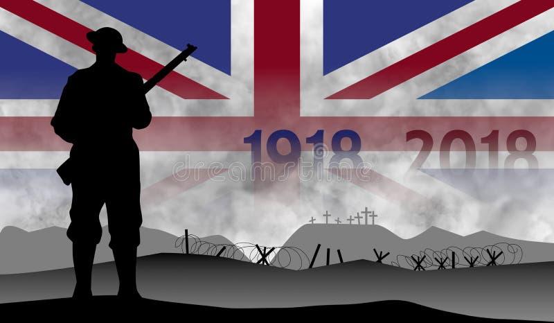 巨大战争的百年的记念,英国 向量例证