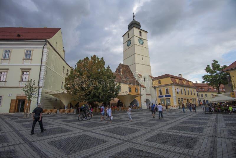 巨大正方形在锡比乌罗马尼亚 免版税库存图片