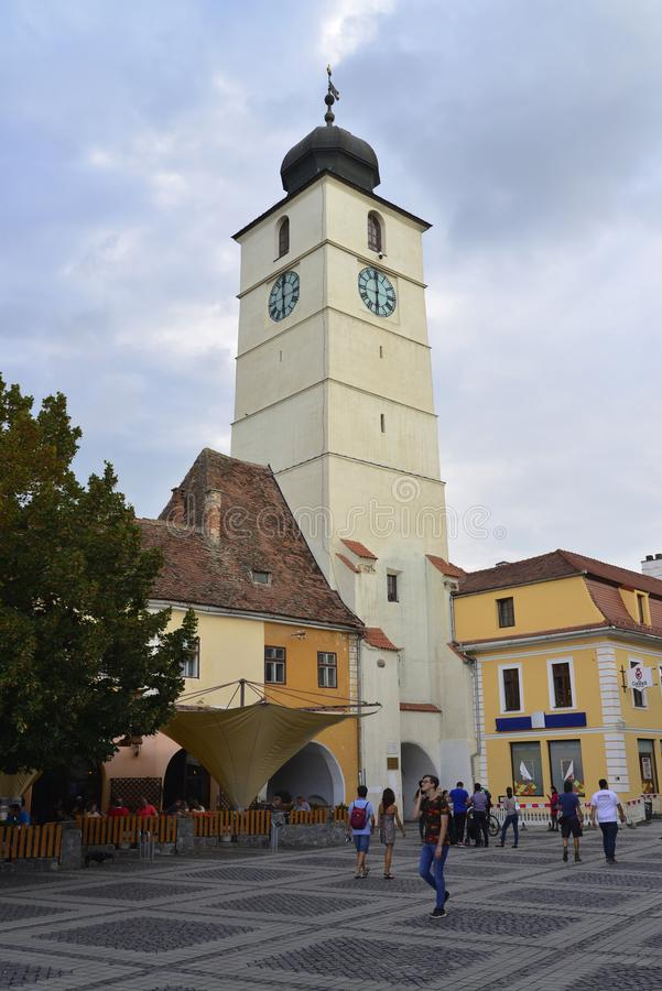 巨大正方形在锡比乌罗马尼亚 免版税图库摄影