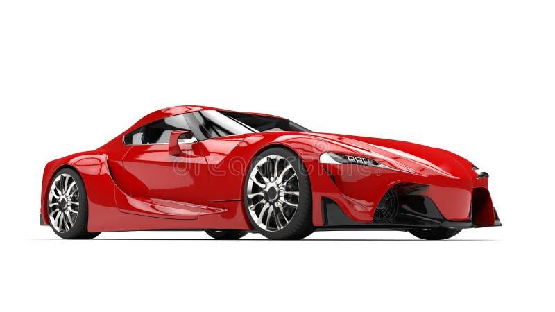 巨大深红现代超级体育车的秀丽射击 库存例证