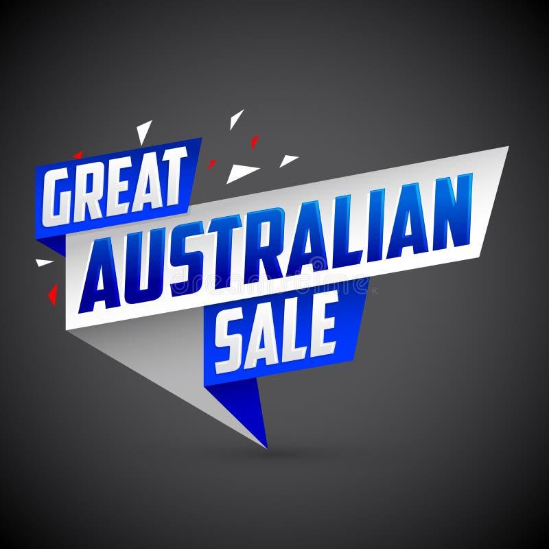 巨大澳大利亚销售,导航现代五颜六色的增进横幅 库存例证