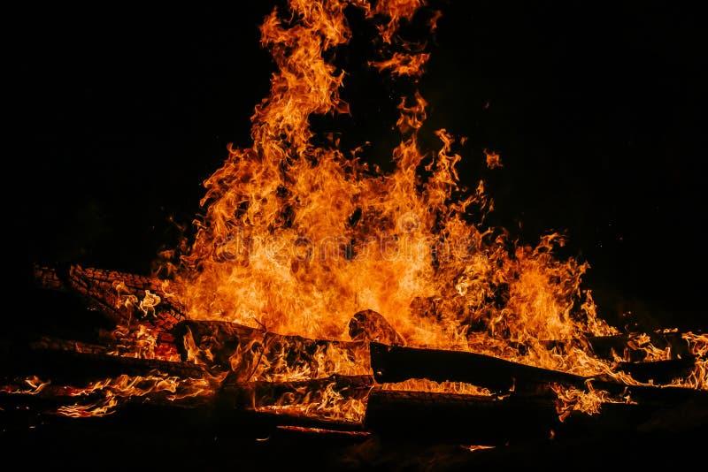 巨大火焰火在晚上 免版税库存照片