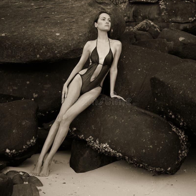 巨大的冰砾的美丽的典雅的夫人 库存照片