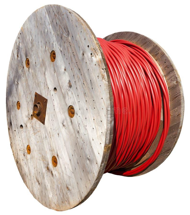 巨大的卷高压电缆 免版税库存图片