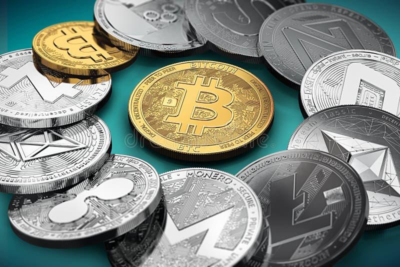 巨大的堆在一个圈子的cryptocurrencies与一金黄bitcoin在中部 皇族释放例证