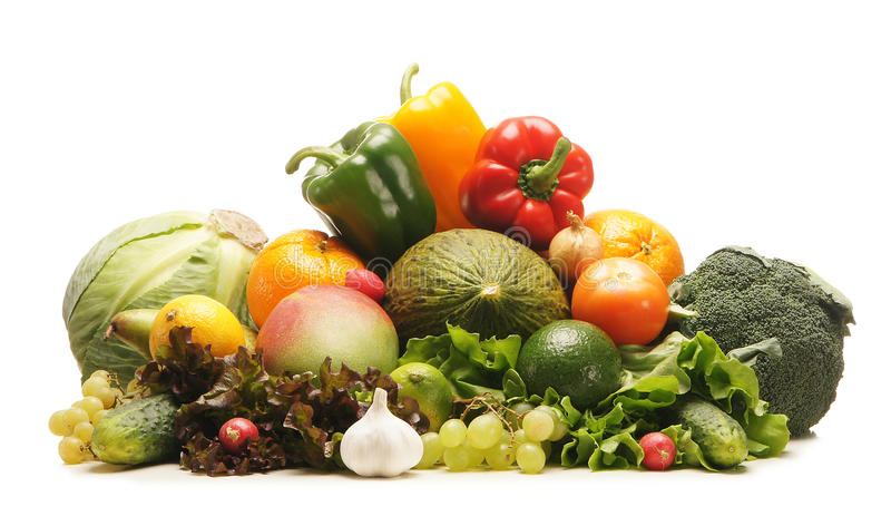 巨大的堆新鲜的水果和蔬菜 免版税图库摄影